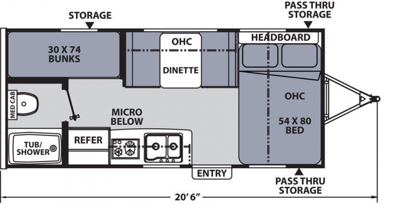 2021 COACHMEN APEX NANO 185 BH Floorplan