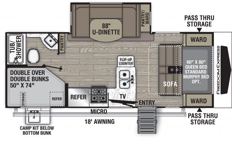 2021 COACHMEN FREEDOM EXPRESS 238 BHS Floorplan