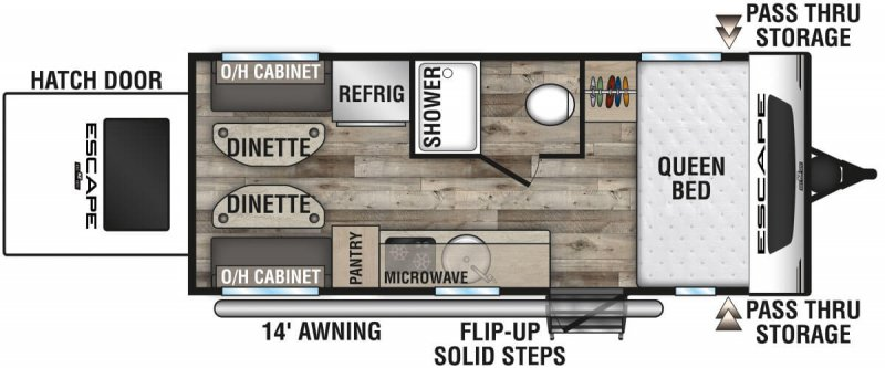2021 KZ RV LTD. ESCAPE E17 HATCH Floorplan