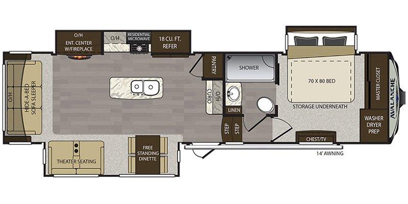 2019 KEYSTONE AVALANCHE 320RS Floorplan