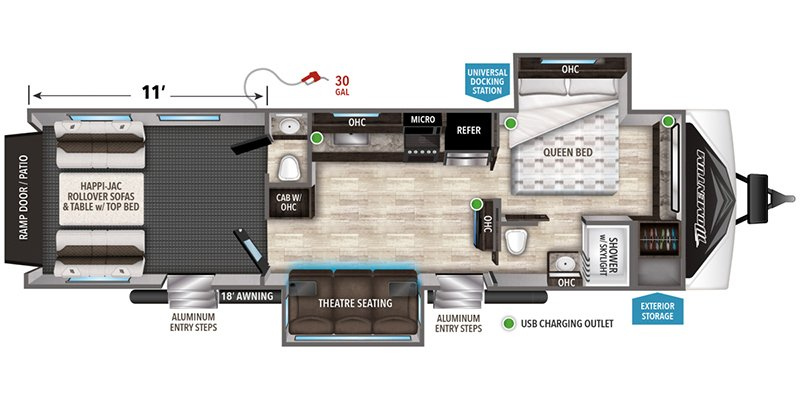 2020 GRAND DESIGN RV COMPANY MOMENTUM G-CLASS 29G Floorplan