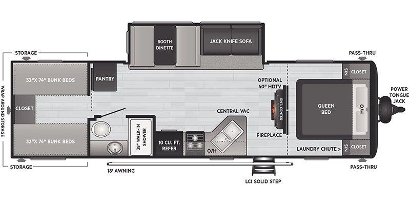 2022 KEYSTONE RV HIDEOUT 290QB Floorplan