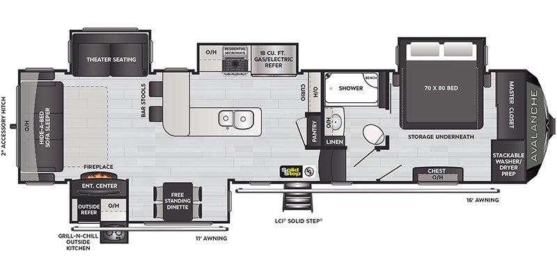 2021 KEYSTONE RV AVALANCHE 338GK Floorplan