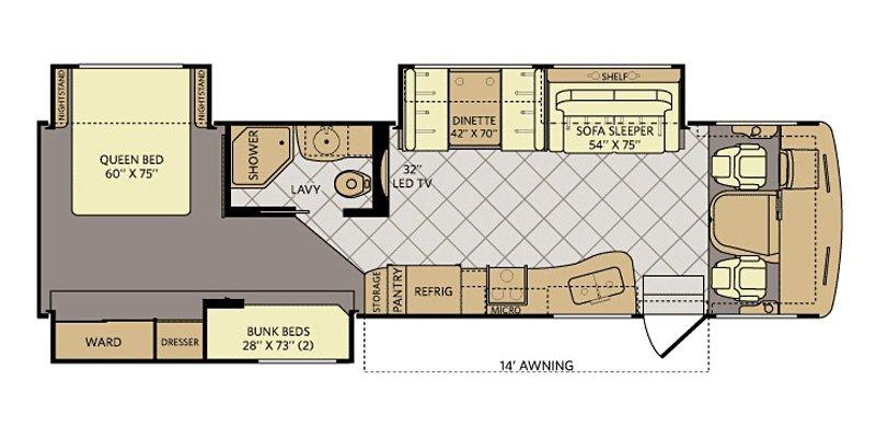 2015 FLEETWOOD BOUNDER CLASSIC 34B-W Floorplan