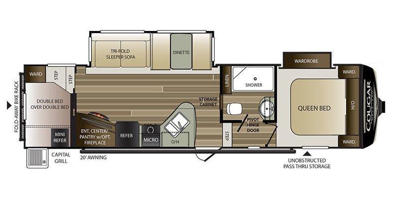 2019 KEYSTONE RV COUGAR 29RD Floorplan