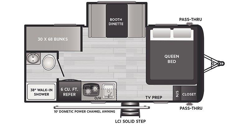 2022 KEYSTONE RV HIDEOUT 176BH Floorplan