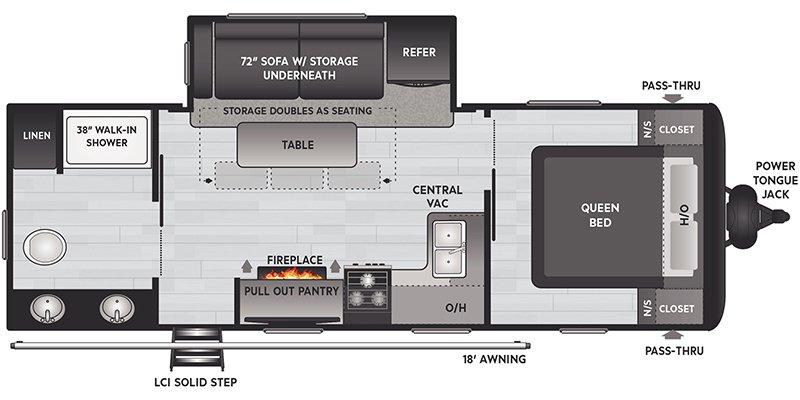 2021 KEYSTONE RV HIDEOUT 243RB Floorplan