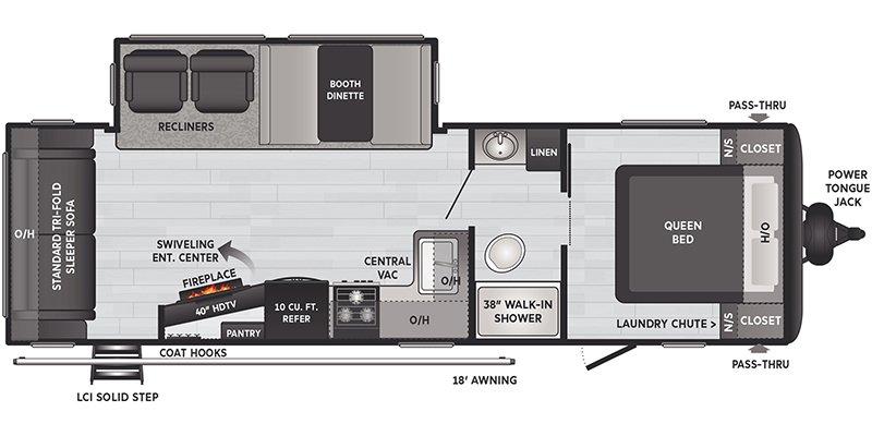 2021 KEYSTONE RV HIDEOUT 27RLS Floorplan
