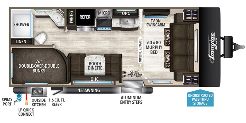 2022 GRAND DESIGN IMAGINE 21BHE Floorplan