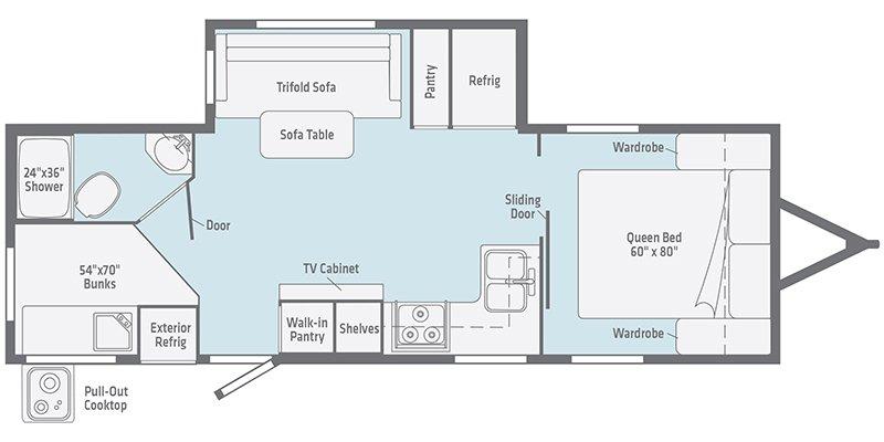 2022 WINNEBAGO MINNIE 2301BHS Floorplan