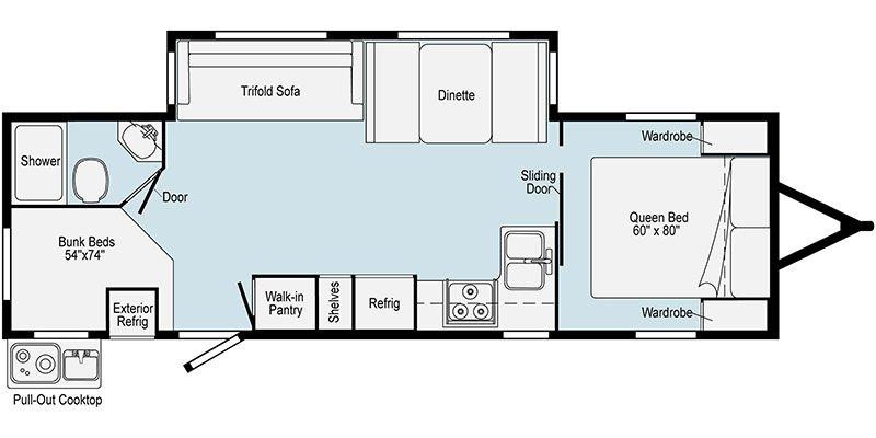 2021 WINNEBAGO MINNIE 2801BHS Floorplan