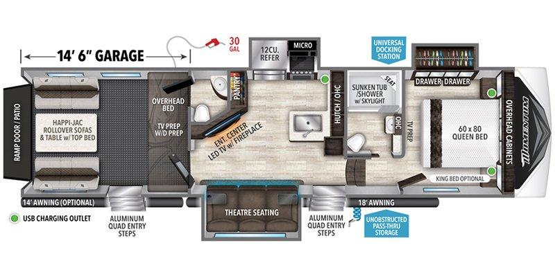 2022 GRAND DESIGN MOMENTUM G-CLASS 350G Floorplan