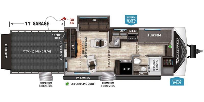 2021 GRAND DESIGN MOMENTUM G-CLASS 29GO Floorplan