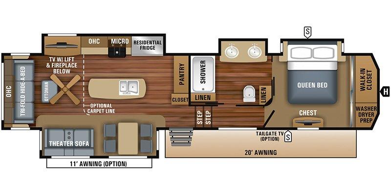 2018 JAYCO NORTH POINT 381DLQS Floorplan
