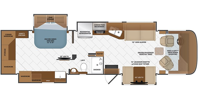 2013 FLEETWOOD DISCOVERY 40E Floorplan
