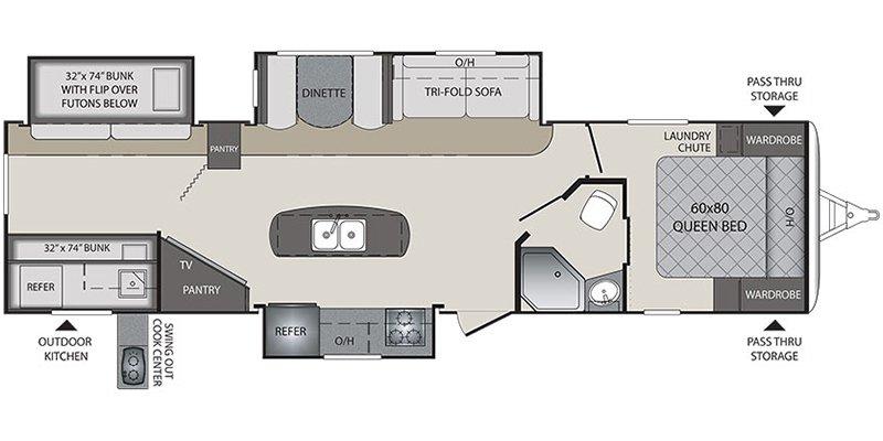 2018 KEYSTONE BULLET PREMIER 34BHPR Floorplan