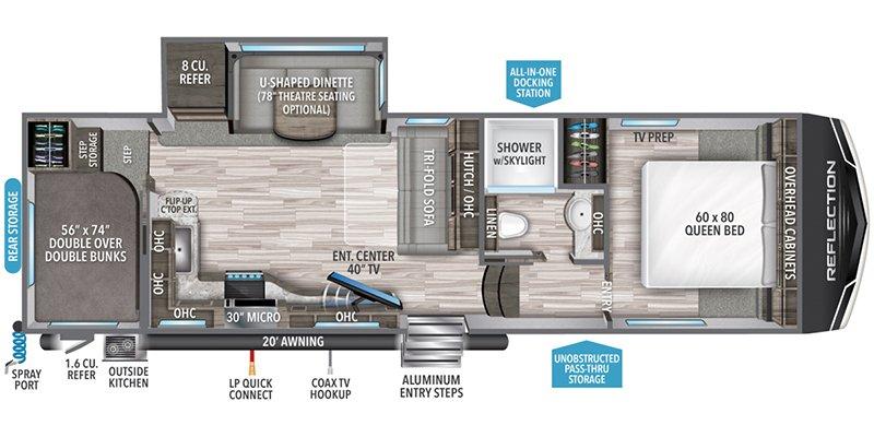 2022 GRAND DESIGN REFLECTION 150 278BH Floorplan