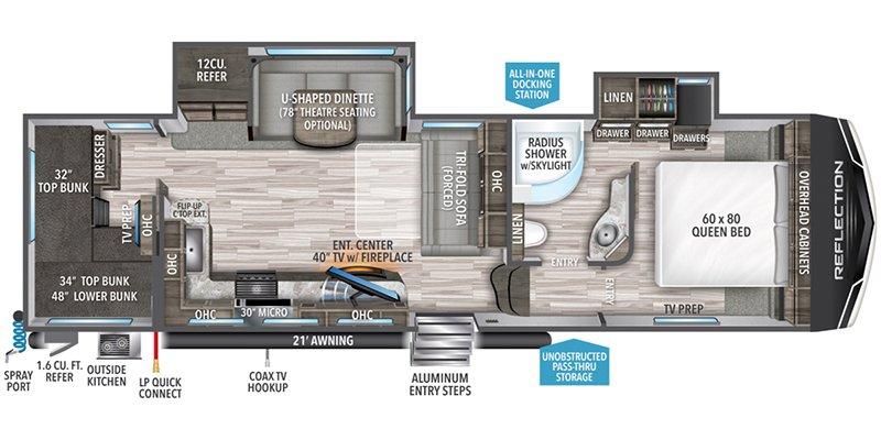 2022 GRAND DESIGN REFLECTION 28BH Floorplan