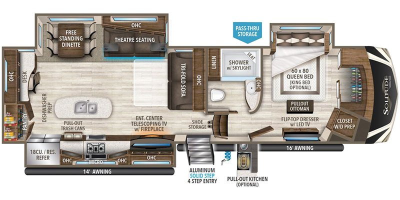 2018 GRAND DESIGN RV COMPANY SOLITUDE 344GK Floorplan
