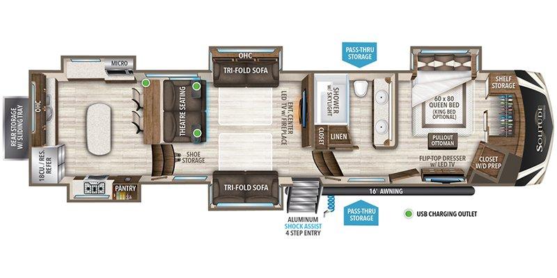2022 GRAND DESIGN SOLITUDE 390RK Floorplan