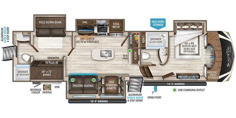 2022 GRAND DESIGN SOLITUDE S-CLASS 3950BH-R Floorplan