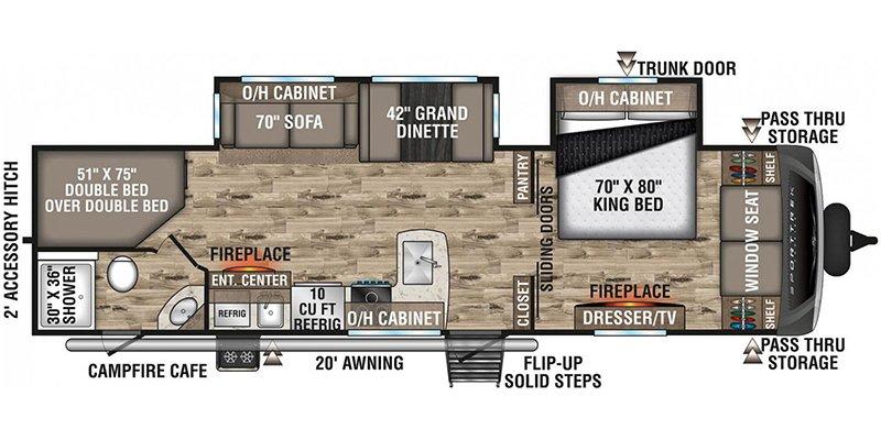 2021 VENTURE RV SPORT TREK TOURING 312VBH Floorplan