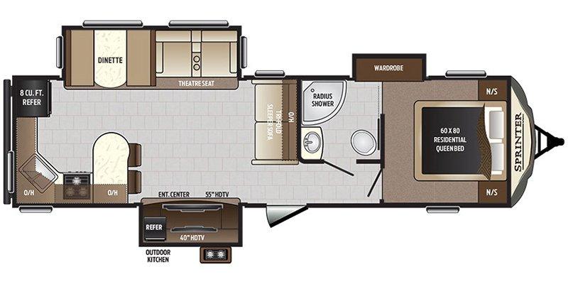 2018 KEYSTONE SPRINTER 312MLS Floorplan