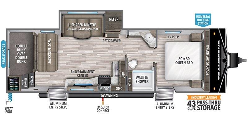 2022 GRAND DESIGN TRANSCEND 265BH Floorplan