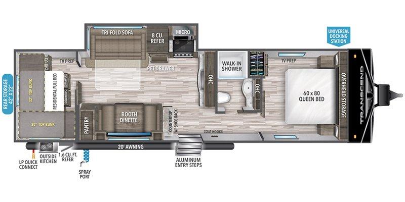 2022 GRAND DESIGN TRANSCEND 297QB Floorplan