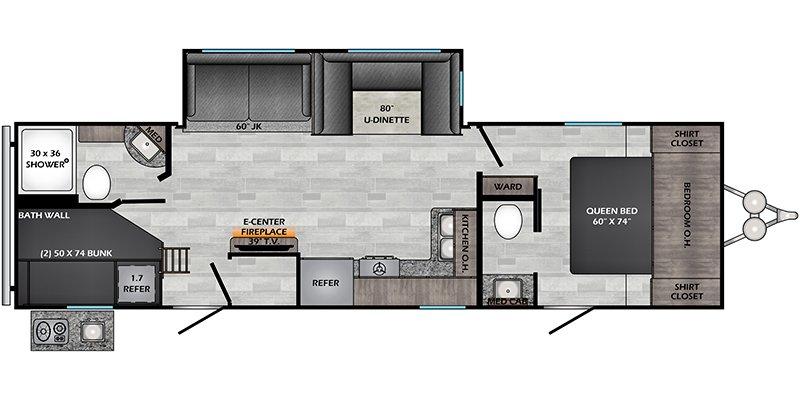 2022 CROSSROADS RV ZINGER 298BHS Floorplan