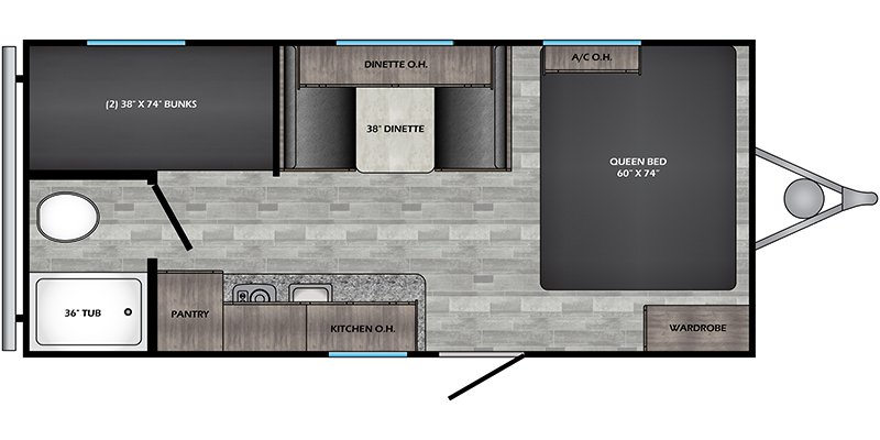 2021 CROSSROADS RV ZINGER 18BH LITE Floorplan
