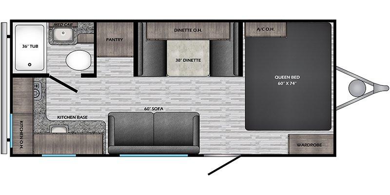 2021 CROSSROADS RV ZINGER 18RK LITE Floorplan