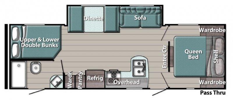2022 GULFSTREAM AMERI-LITE TRAVEL TRAILER 268BH Floorplan