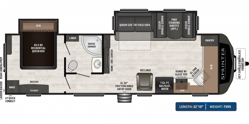 2019 KEYSTONE RV Sprinter Campfire 29FK Floorplan