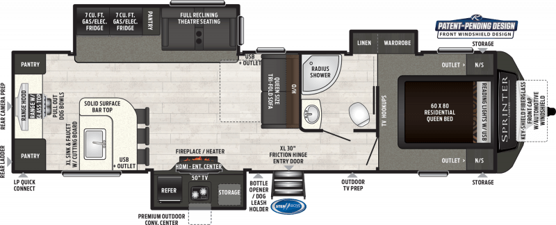 2021 KEYSTONE RV SPRINTER LIMITED 320MLS Floorplan