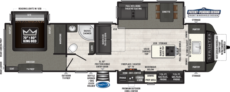 2021 KEYSTONE RV SPRINTER LIMITED 333FKS Floorplan