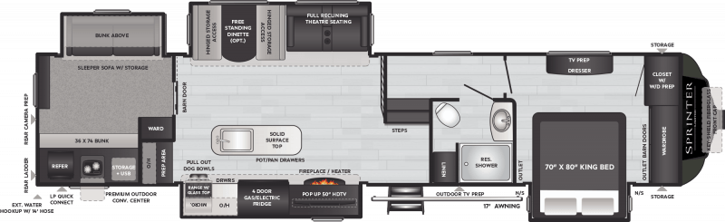 2021 KEYSTONE RV SPRINTER LIMITED 3620LBH Floorplan