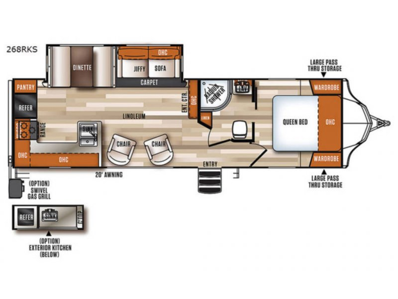 2018 FOREST RIVER VIBE 268RKS Floorplan