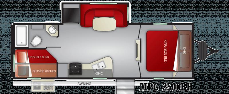 2021 CRUISER RV MPG ULTRA -LITE 2500BH Floorplan