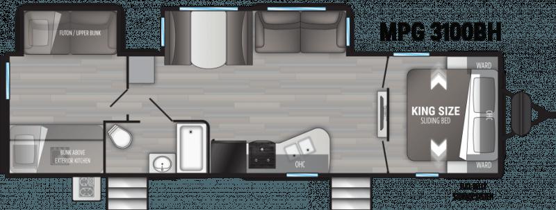 2022 CRUISER RV MPG ULTRA - LITE 3100BH Floorplan