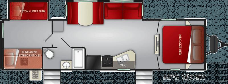 2021 CRUISER RV MPG ULTRA - LITE 3100BH Floorplan