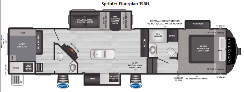 2021 KEYSTONE RV SPRINTER LIMITED 35BH Floorplan
