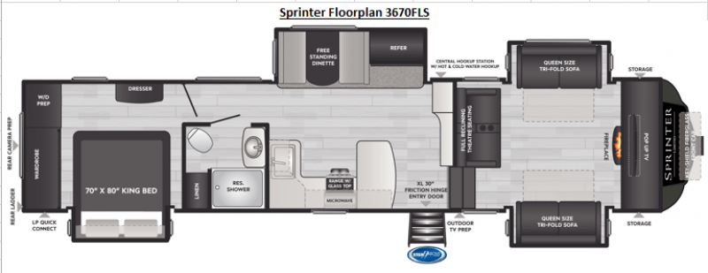 2021 KEYSTONE RV SPRINTER LIMITED 3670FLS Floorplan