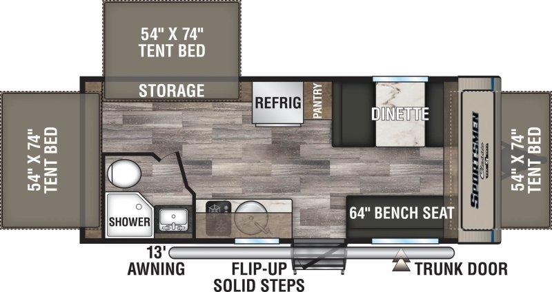2020 K-Z SPORTSMEN CLASSIC  HYBRID 180RBT Floorplan