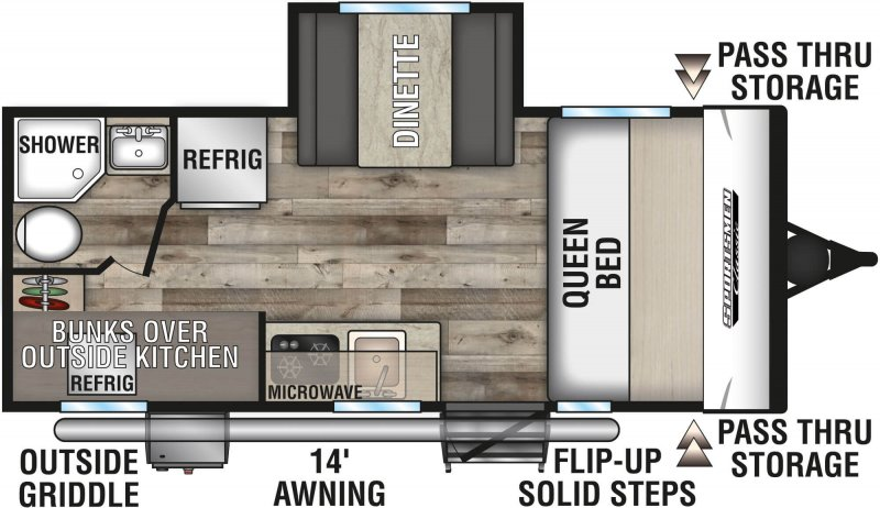2021 K-Z INC. Sportsmen Classic 191BHK Floorplan