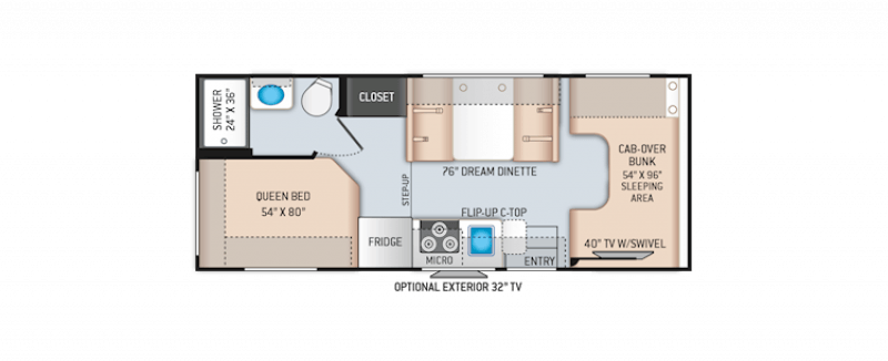 2021 THOR MOTOR COACH FOUR WINDS 22E Floorplan