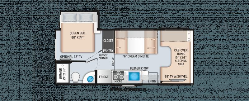 2021 THOR MOTOR COACH Four Winds 22B Floorplan