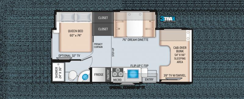 2021 THOR MOTOR COACH Four Winds 24F Floorplan