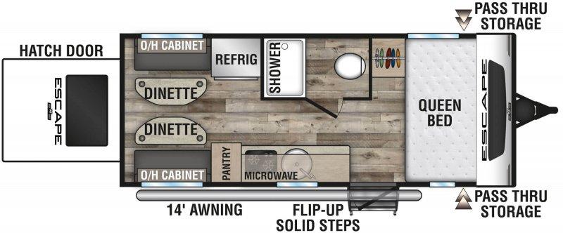 2021 K-Z INC. ESCAPE E17 HATCH OFF GRID/OFF ROAD PACKAGE Floorplan