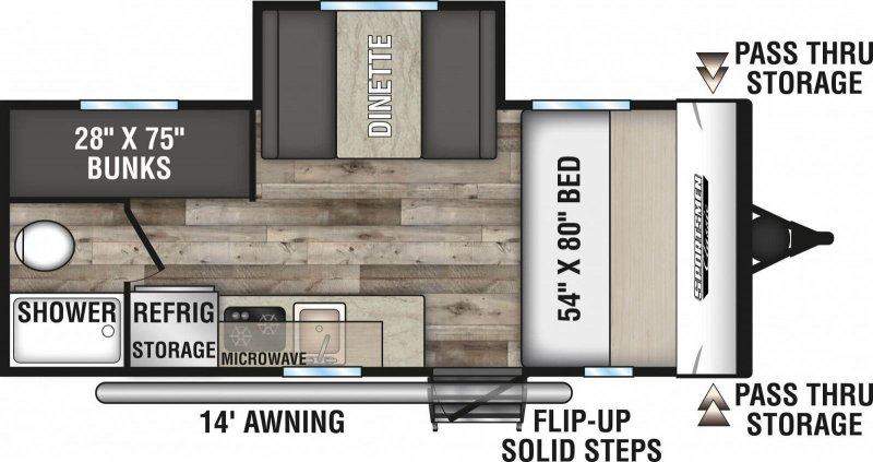 2021 K-Z SPORTSMEN CLASSIC 181BH Floorplan